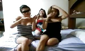slutty Korean girls' funny dance on the bed