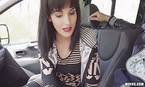 Driver bangs with thin teenie hotty at the backseat