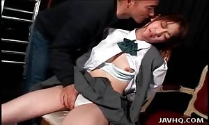 Schoolgirl groans for his finger fucking and breast eating