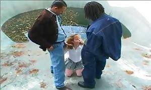 Schoolgirl and an multiracial double penetration
