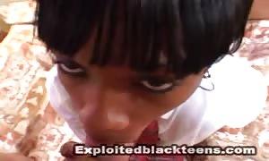 Sperm-loving black schoolgirl and aroused as fuck white shlong