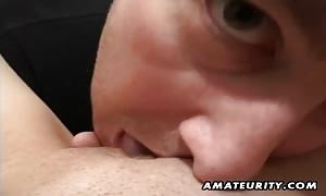 A lovely dark haired novice girl-friend homemade hardcore action with pussy playing and deepthroat blowjob ending with facial money shot !
