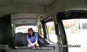 plump British nurse slammed in pretend taxi