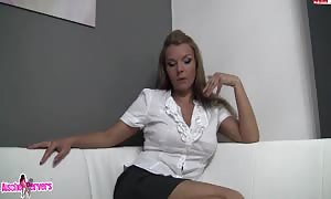 blonde in white shirt throating and poking with condom dildo
