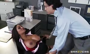 exciting huge boobed office worker Priya Anjali Rai seduces her chief's son Xander Corvus in the office