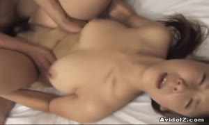 hairy slit Momo Aizawa riding boner stiff!