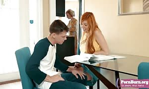 Lauren Phillips and Eric are studying in the living home