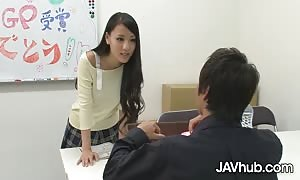 JAVHUB Schoolgirl Ren Azumi banged by her two professors