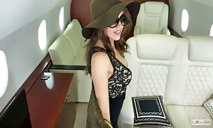 LuxuryGirl deepthroated manhood and boned in a personal jet
