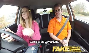 faux Driving school full scene - horny Italian learner with gigantic natural titties