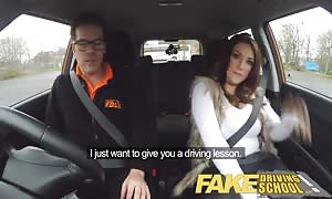 fake Driving school big-chested jailbird takes instructor on a insane ride!